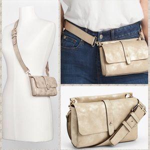 NWT Zara Champagne Leather belt bag fanny pack